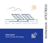 renewable energy  solar panels... | Shutterstock .eps vector #675178312