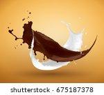fresh milk and chocolate splash   Shutterstock . vector #675187378