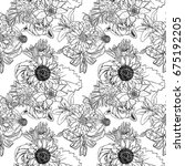 black and white flower pattern... | Shutterstock . vector #675192205