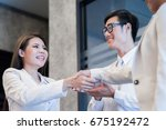 business people shaking hands ... | Shutterstock . vector #675192472