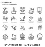 beauty salon  square icon set.