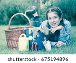 happy germany female with... | Shutterstock . vector #675194896