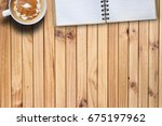 copy space hot coffee and blank ... | Shutterstock . vector #675197962