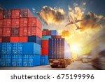 industrial container cargo... | Shutterstock . vector #675199996