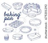 doodle set of bake ware  ... | Shutterstock .eps vector #675201292