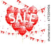 lettering sale with red... | Shutterstock .eps vector #675204406