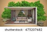 interior living room. 3d... | Shutterstock . vector #675207682