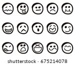 isolated doodle cartoon smiley... | Shutterstock .eps vector #675214078