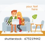couple sitting on the couch... | Shutterstock .eps vector #675219442