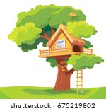 vector tree house isolated on... | Shutterstock .eps vector #675219802