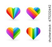 rainbow heart illustrations | Shutterstock .eps vector #675232642