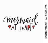 mermaid at heart girl t shirt... | Shutterstock .eps vector #675236695