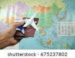 airplane passport flight travel ... | Shutterstock . vector #675237802
