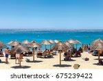 mykonos  greece  july 2017.... | Shutterstock . vector #675239422