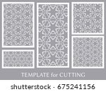 decorative panels set for laser ... | Shutterstock .eps vector #675241156