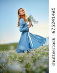 woman with a bouquet in a... | Shutterstock . vector #675241465
