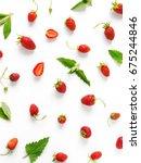 berry pattern. strawberries... | Shutterstock . vector #675244846