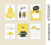 set of decorative autumn cards | Shutterstock .eps vector #675251065