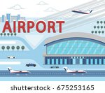airport building and airplanes... | Shutterstock .eps vector #675253165