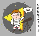 cartoon astronaut with... | Shutterstock .eps vector #675257815