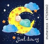 cartoon night scene with cute... | Shutterstock . vector #675260662