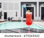 a glass of cocktail with... | Shutterstock . vector #675265432