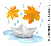 paper boat in puddle  raindrops ... | Shutterstock .eps vector #675266842