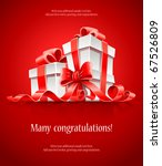 gift in box with red ribbon and ... | Shutterstock .eps vector #67526809