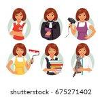 set of different female...   Shutterstock .eps vector #675271402