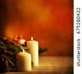 christmas candles and ornaments ... | Shutterstock . vector #675280432