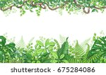 hand drawn branches and leaves... | Shutterstock .eps vector #675284086