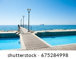 beautiful sea promenade and... | Shutterstock . vector #675284998