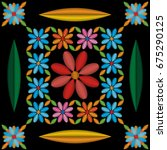 patten embroidery of flowers.... | Shutterstock .eps vector #675290125