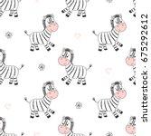 seamless cute zebras pattern.... | Shutterstock .eps vector #675292612