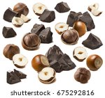 hazelnut and craft chocolate... | Shutterstock . vector #675292816