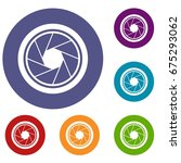 photographic objective icons... | Shutterstock .eps vector #675293062
