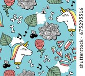 seamless pattern with unicorn... | Shutterstock .eps vector #675295516