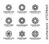 flower logo templates in trendy ... | Shutterstock .eps vector #675298465