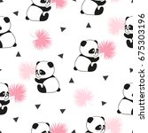 cute panda bears seamless... | Shutterstock .eps vector #675303196