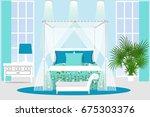 the interior of the bedroom.... | Shutterstock .eps vector #675303376