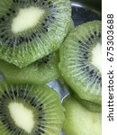 closeup fresh kiwi slices.fresh ... | Shutterstock . vector #675303688