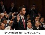former fbi director james comey ... | Shutterstock . vector #675303742
