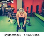 beautiful blonde athlete...   Shutterstock . vector #675306556