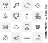 set of 16 baby outline icons... | Shutterstock .eps vector #675308452