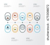 auto colorful outline icons set.... | Shutterstock .eps vector #675308872
