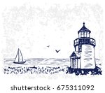 vector banners. blue sea... | Shutterstock .eps vector #675311092