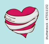 a drawing treated red heart.... | Shutterstock .eps vector #675311152
