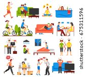 isometric icons set of... | Shutterstock .eps vector #675311596