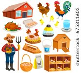 poultry farm elements set with... | Shutterstock .eps vector #675311602
