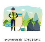 worker collects garbage  sorts... | Shutterstock .eps vector #675314248